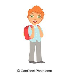 Happy little schoolboy carrying red backpack, a colorful character isolated on a white background
