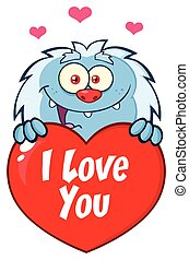 Happy Little Yeti Cartoon Mascot Character Over A Valentine Love Heart