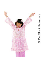 asian girl - happy little young malay asian girl with baju...