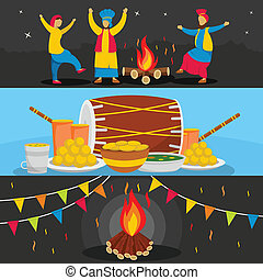 Happy Lohri festival banner set, flat style