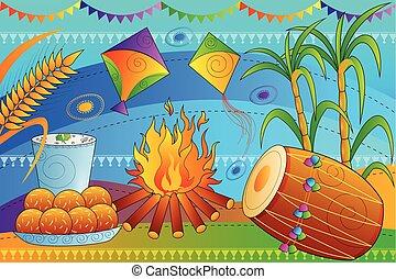 Happy Lohri Punjab festival celebration background - vector...