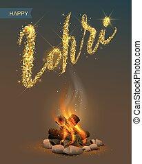 Happy Lohri Punjabi festival. Bonfire