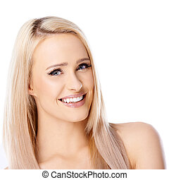 Happy long haired blond woman on white background smiling