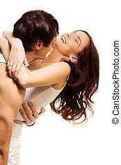 Happy love - Happy couple with boyfriend hugging adult...