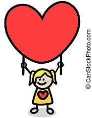 happy lover girl with red heart
