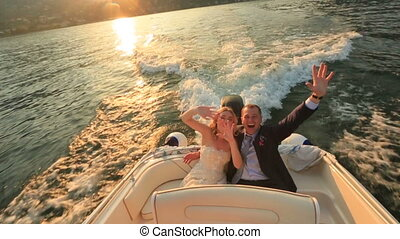 Happy Lovers sitting in the Boat