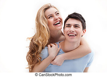 Happy loving couple. Cheerful loving couple having fun ...