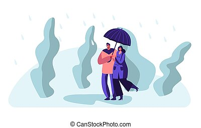 Happy Loving Couple Holding Hands Walking in Park in Rainy Weather under Umbrella, Speaking, Enjoying Relations, Love. Pair Characters Spend Time on Nature, Relaxing Cartoon Flat Vector Illustration