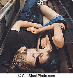 happy loving couple in the boat