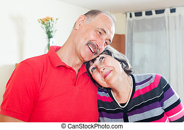happy loving elderly couple