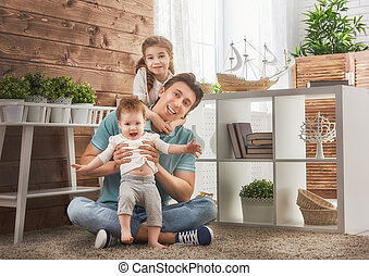 Father and his daughters - Happy loving family and Father's ...