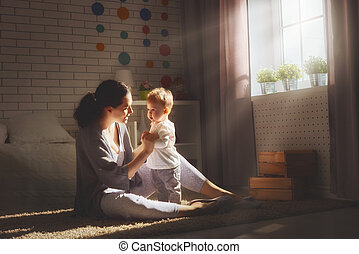 Happy loving family. - happy loving family. mother playing...