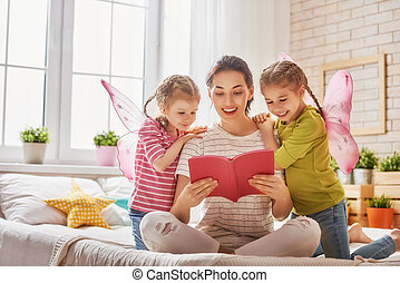 mother reading a book