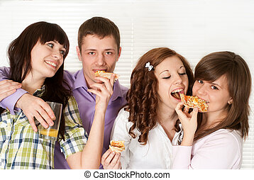 Happy luck Caucasian campaign of four people eating pizza
