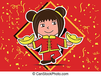 happy lunar new year and the girl cartoon celebration