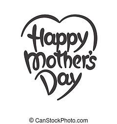 """""""happy, madre, day"""", hand-drawn, iscrizione"""