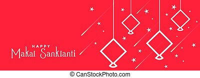 happy makar sankranti red flat style banner