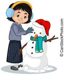 Happy making snowman on white background