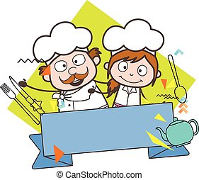 Happy Male and Female Chef with Blank Banner Vector Illustration