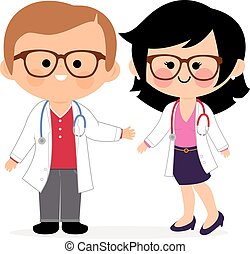 Happy male and female doctors