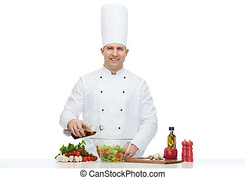 happy male chef cook cooking food - profession, vegetarian,...