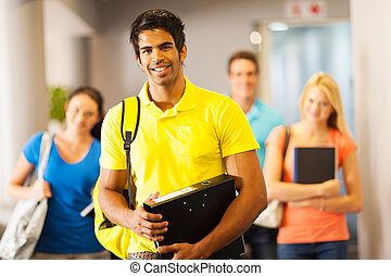 male college student and friends - happy male college...