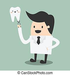happy male dentist wearing lab coat