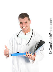 Happy male doctor giving a thumbs up