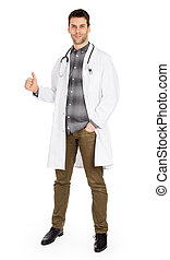 Happy male doctor showing thumb up