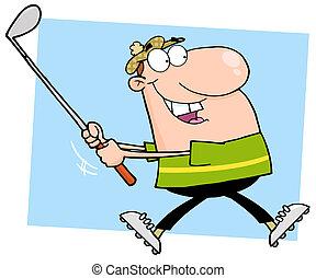 Happy Male Golfer Running