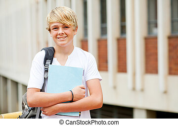 happy male high school student portrait