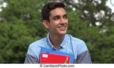 Happy Male Hispanic Student Teenager