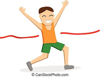 Happy male runner cross the finish line, vector