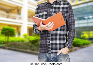 happy male university student outdoors