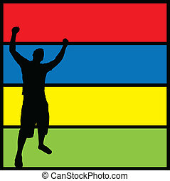 A silhouette of a man posing with his arms in the air over a colorful background.