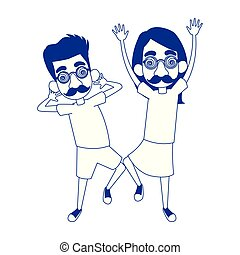 happy man and boy with crazy glasses and mustache