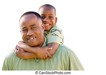 Happy Man and Child Isolated on White - Happy African...