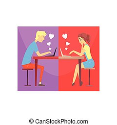 Happy man and woman in love chatting online, sitting at the table. People finding love using date websites. Boy and girl fall in love. Vector colorful illustration in flat style
