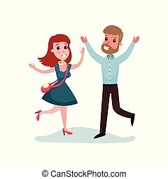 Happy man and woman in love run towards each other, couple in love on a date cartoon vector Illustration