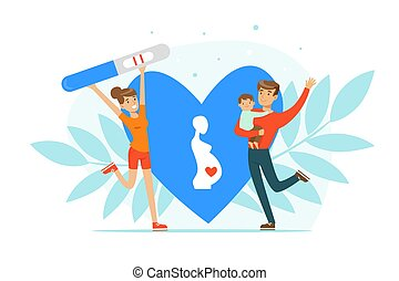 Happy Man and Woman Rejoicing Because of Positive Pregnancy Test Vector Illustration. Young Parents Expecting Baby Birth Concept