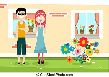 Happy Man and Woman with Family House and Flowers