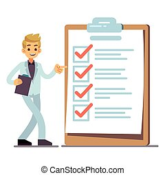 Happy man at giant schedule checklist with tick marks isolated on white background