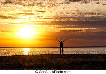 Happy Man at Sunset