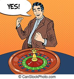 Happy Man Behind Roulette Table Celebrating Big Win. Casino Gambling. Pop Art Vector retro illustration