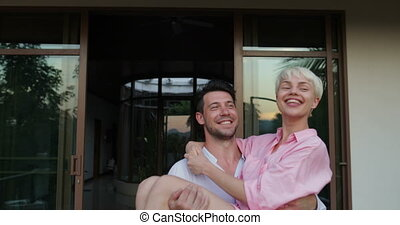Happy Man Carry Woman On Summer Terrace At Sunset, Romantic...