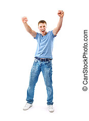 happy man celebrating his success isolated over a white background