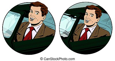 Happy man driving a cabriolet  Stock illustration.