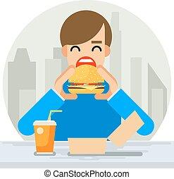 Happy Man Eating Hamburger Sandwich Icon Fast Food Symbol Flat Design Vector Illustration