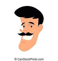 happy man face character cartoon