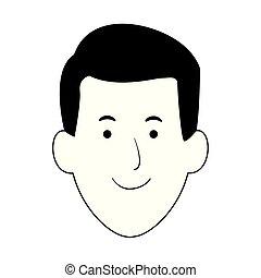happy man face icon, flat design